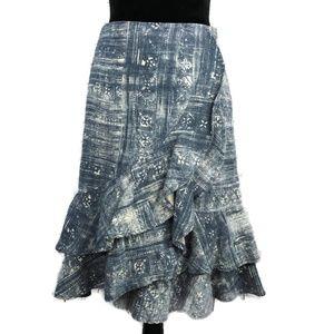LRL Tribal Chambray Ruffle Faux Wrap Skirt 12